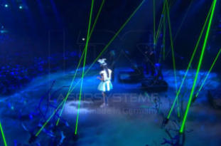 Laser beam trees at Eurovision Song Contest, Cologne